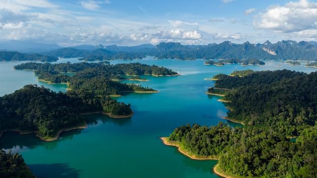 Sunligh lake mountain rajjaprabha dam (chiao lan dam), surat thani province, thailand