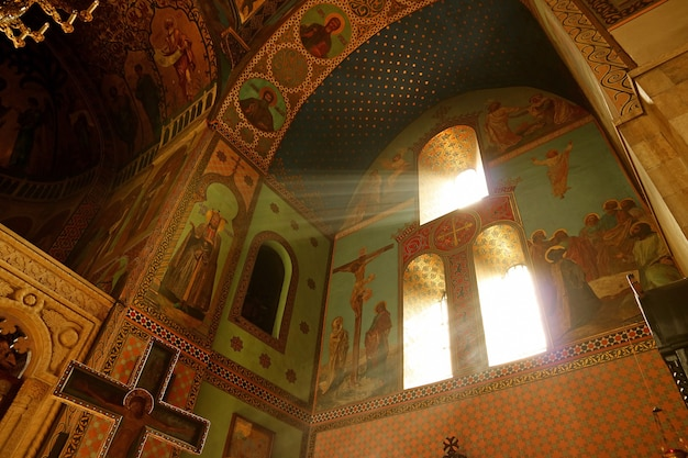 Sunlight shining into tbilisi sioni cathedral