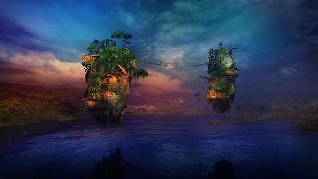 Залитые солнцем жилища на волшебных летающих островах над озером d render