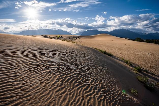 Волнистые от ветра солнечные песчаные холмы с пустынной растительностью на фоне горного хребта кадар и слегка пасмурного неба.