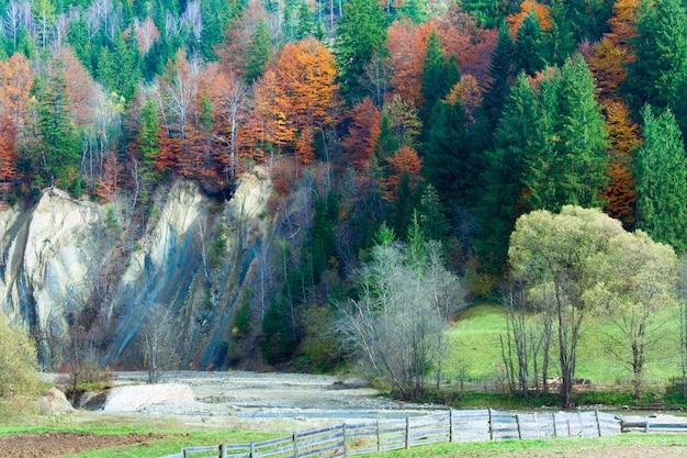 Sunny autumn mountain forest on mountainside and river (carpathian, ukraine)