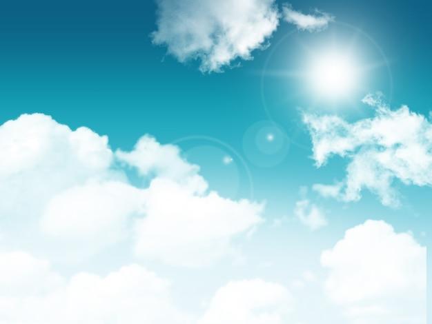 Солнечное голубое небо с пушистыми белыми облаками