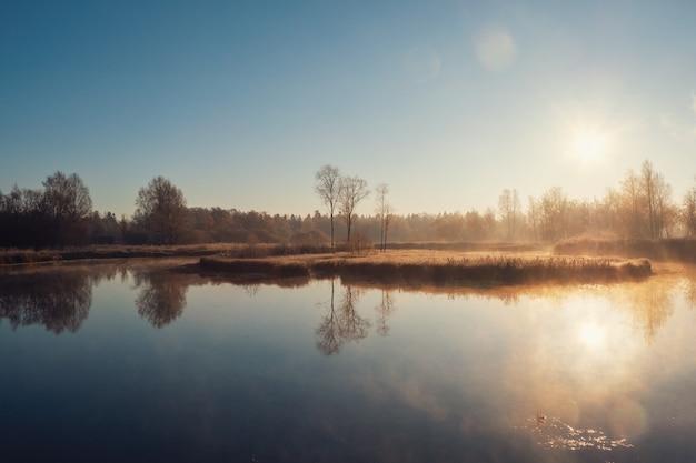 Sunny frosty dawn on a foggy swamp