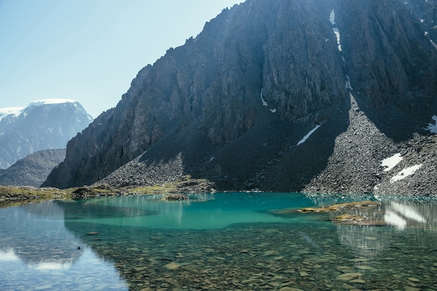 Sunny mountain landscape with azure glacial lake in sunlight. turquoise clear water of mountain lake and big rock. beautiful scenery with lake and snow in mountain. stony bottom in transparent water.