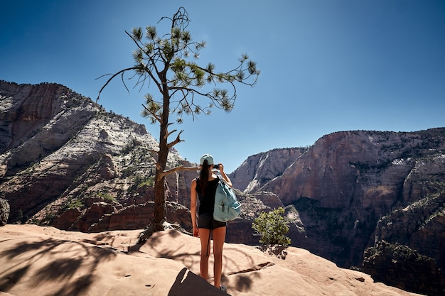 Sunny scenery of a female traveler in the zion national park located in utah, usa