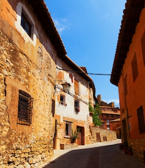 Sunny street of old spanish town