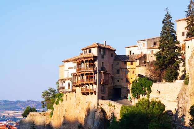 Sunny view of hanging houses  in cuenca