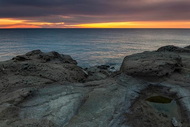 Sunrise on the coast of escullos.