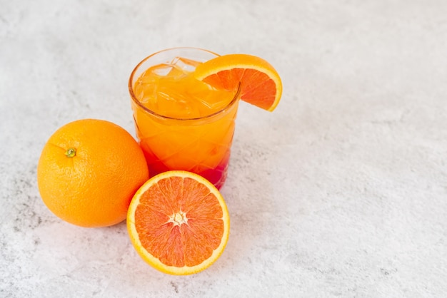 Sunrise cocktail drink with orange juice
