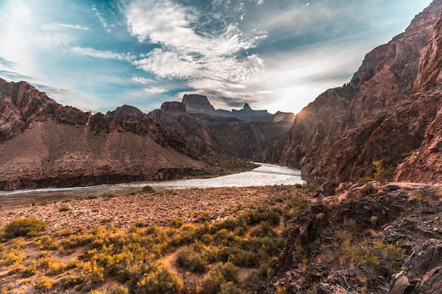 Sunrise on the colorado river on the bright angel trailhead route in the grand canyon. arizona
