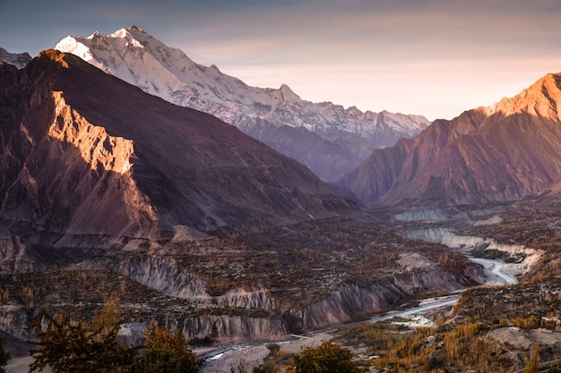 Sunrise at hunza nagar valley. gilgit baltistan, pakistan.