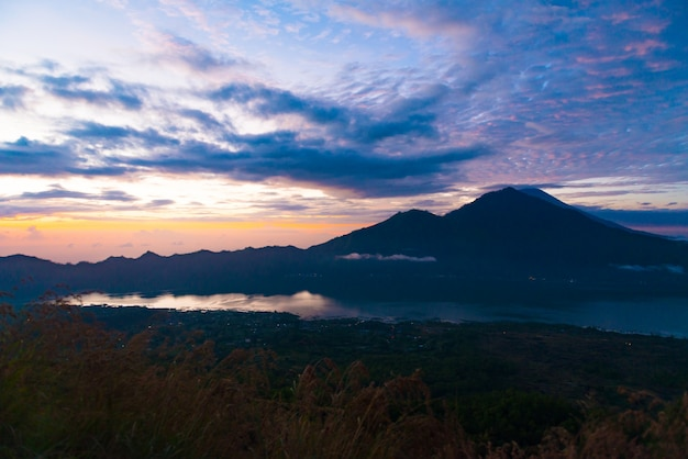 Sunrise over lake batur