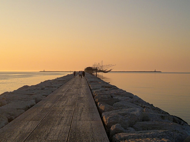 Sunrise landscape of the beach of sottomarina in northen italy