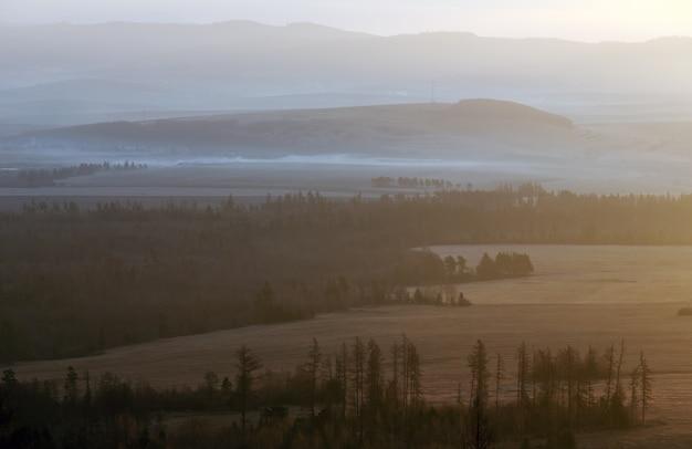 일출 안개가 자욱한 국가 풍경. 슬로바키아에서 tatra 산맥의 산기슭에서 볼 수 있습니다.