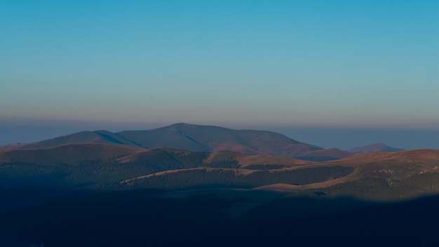 Sunrise morning on the montain in romania, bucegi park