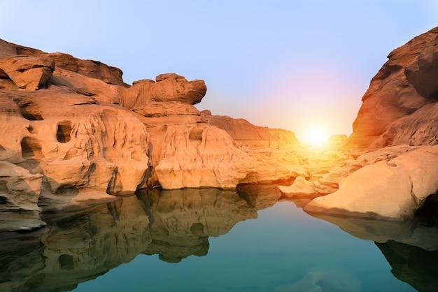 Sunrise new day at sam phan bok grand canyon of thailand in ubon ratchathani province
