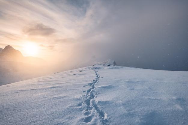 Senja 섬의 눈보라에 발자국이있는 눈 덮인 산에서 일출