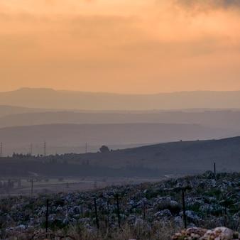 Восход солнца над пейзажем, веред ха-галиль, галилея, израиль