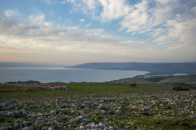 Восход солнца над галилейским морем, веред ха-галиль, галилея, израиль
