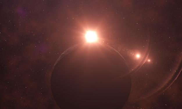 星空の背景にあるサイロフエット惑星の日の出星雲効果ファンタジー空間景観
