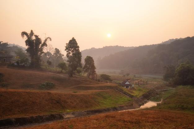 Sunrise at pang ung (pang tong reservoir), mae hong son province, thailand