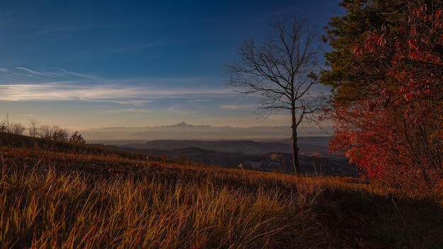 Sunrise scenery in langhe piedmont italy