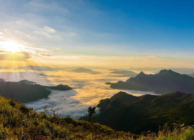 Sunrise and sea of mist, view from  phucheefa forest park