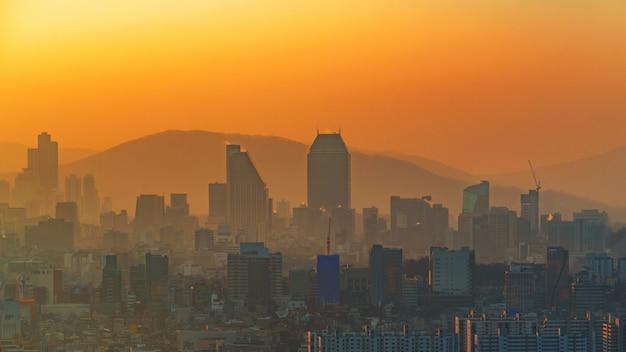 Sunrise of seoul city, south korea.