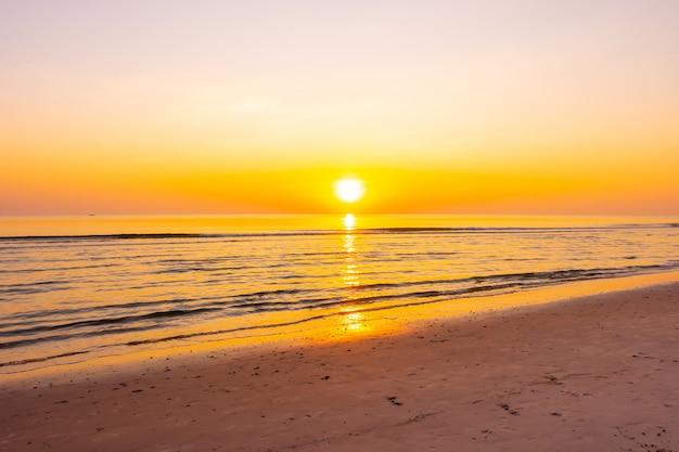 Sunrise or sunset with twilight sky and sea beach