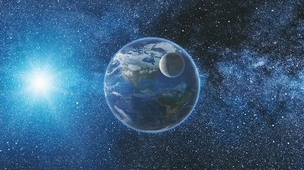 Вид на восход солнца из космоса на планете земля и луна, вращающаяся в космосе, голубое небо, млечный путь с тысячей