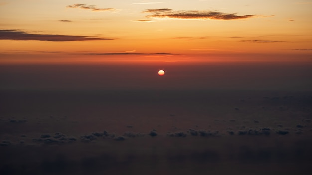 A sunrise view from the top of the agion oros (athos mountain) in greece, halkidiki.