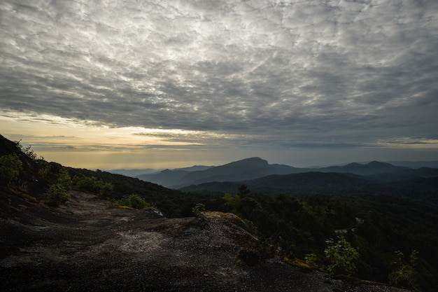 Sunrise with beautiful cloud at doi inthanon national park. chiang mai province, thailand