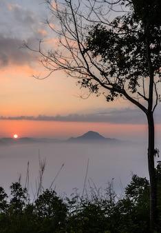 タイ、ルーイのチェンカーンでフートック山の上の霧の海との日の出