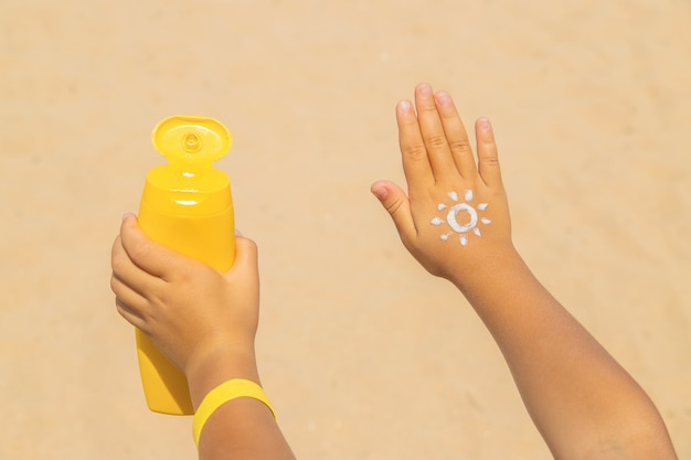 Sunscreen on the skin of a child