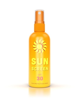 Sunscreen spray isolated on white glossy background.