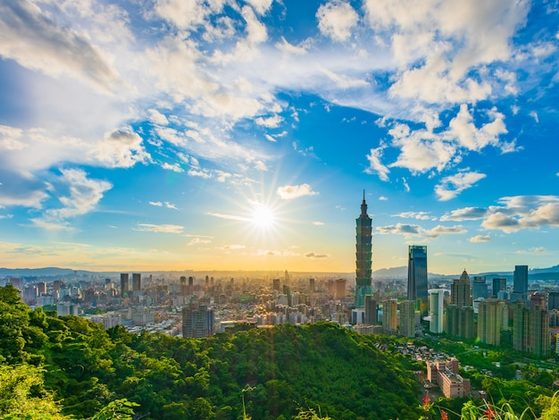 Закат воздушный выстрел из города тайбэй, тайвань