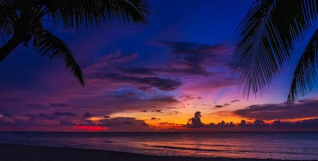 夕日と手のひら-自然の背景。