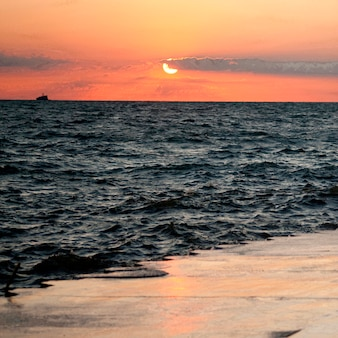 Закат в чикаго, озеро мичиган