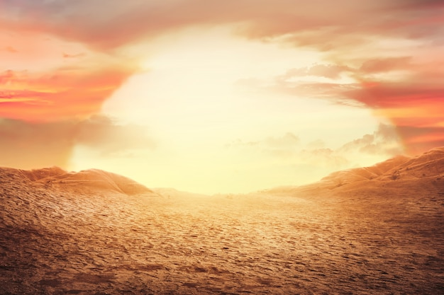 사막에서 일몰