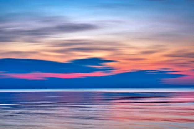 Sunset on baltic sea beach, jurmala latvia.