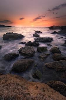 Sunset in the basque coast under jaizkibel mountain in hondarribia, basque country.