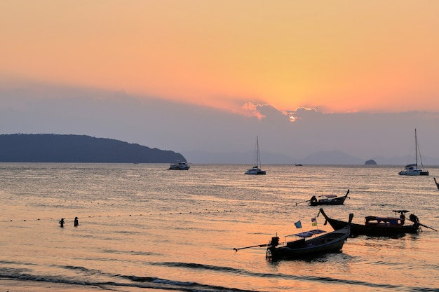 Sunset the beach of ao nang krabi