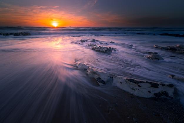 Sunset at the beach of bidart, basque country.