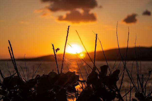リゾート都市ゲレンジークの山々の後ろに沈む夕日。ロシア、黒海沿岸