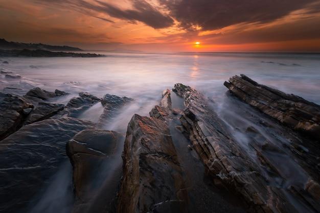 Sunset at bidart's beach next to biarritz, basque country.