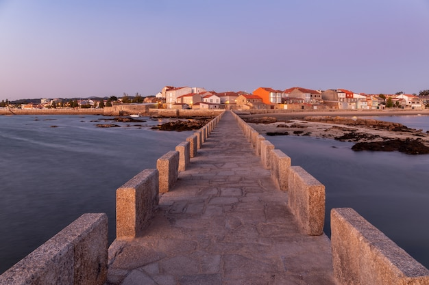 Sunset in the city of cambados, galicia, spain.