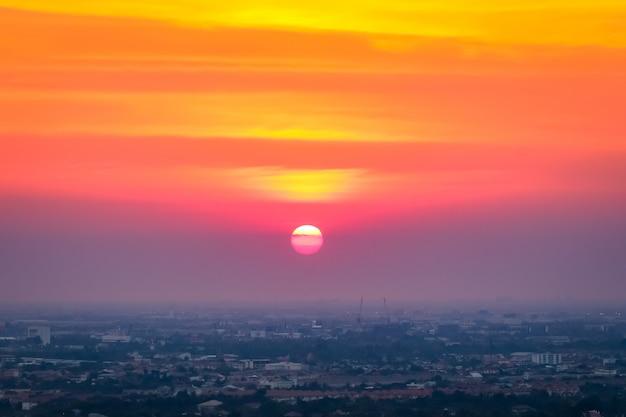 Sunset above the city landscape
