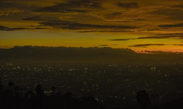Sunset and citylight