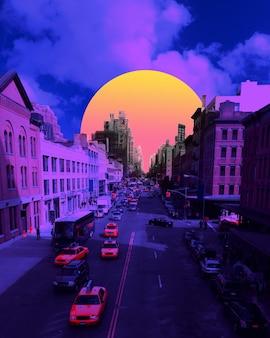 Закат. городской пейзаж в ярких тонах. модный фон с неоновой подсветкой, обои с copyspace для рекламы. современный дизайн. коллаж современного искусства. концепция вдохновения, настроения, творчества. стиль ретроволны.