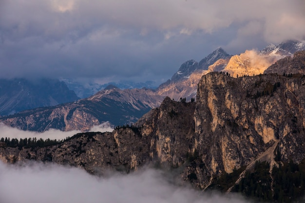 Sunset in dolomites mountains, alps, northern italy. europe